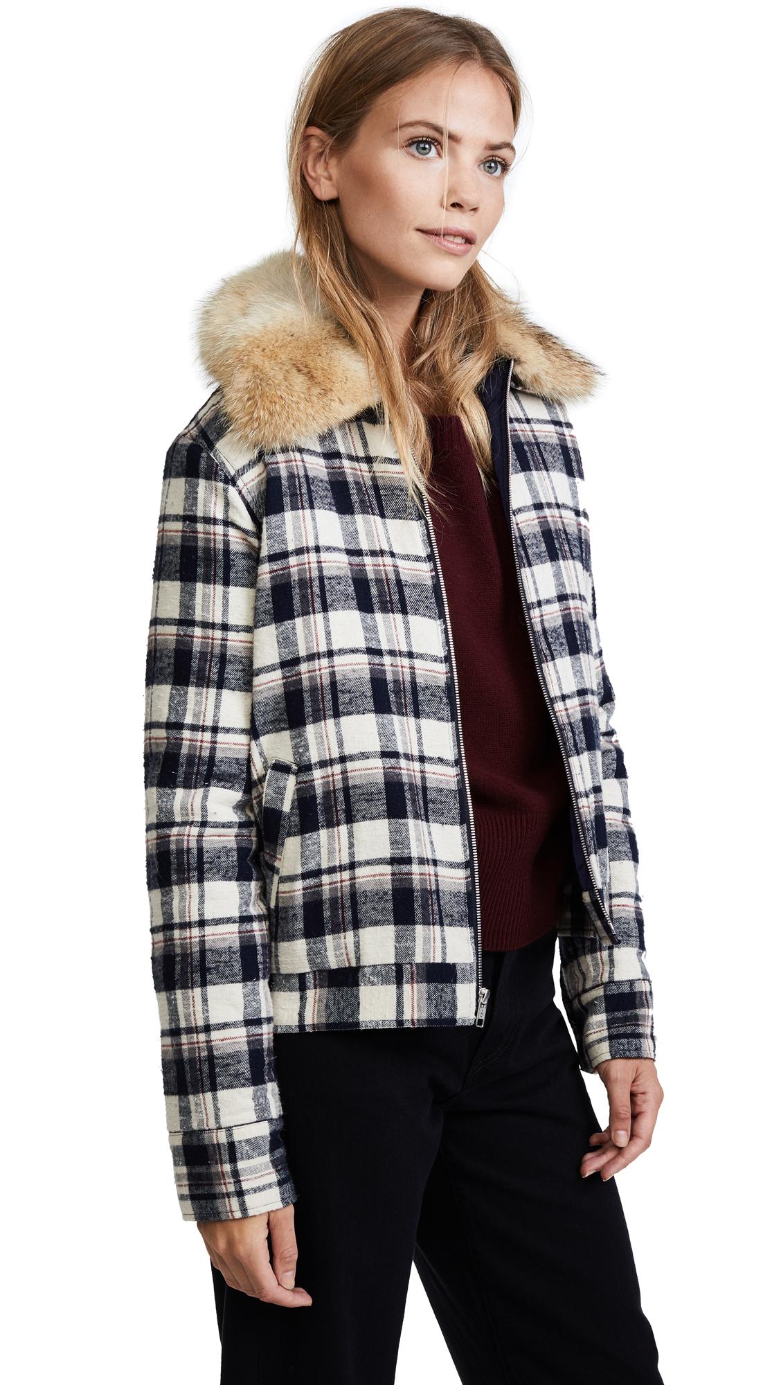 Jenni Kayne Fur Flannel Zip Jacket - Navy/Ivory/Burgundy