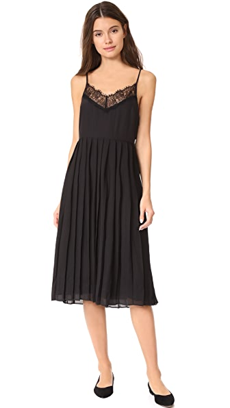 Jenni Kayne Pleated Lace Cami Dress In Black