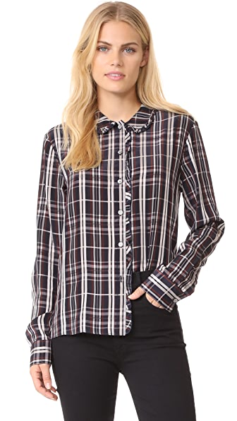 Jenni Kayne Plaid Ruffle Button Up - Navy/Burgundy