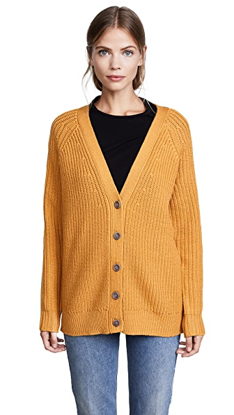 Jenni Kayne MR Rib V Neck Cardigan In Mustard
