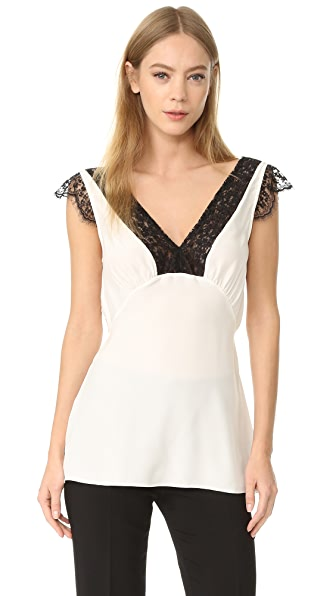 Jenni Kayne Lace V Neck Top In White/Black