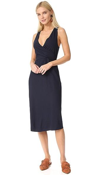 Jenni Kayne Short Sleeve Wrap Tie Dress In Navy