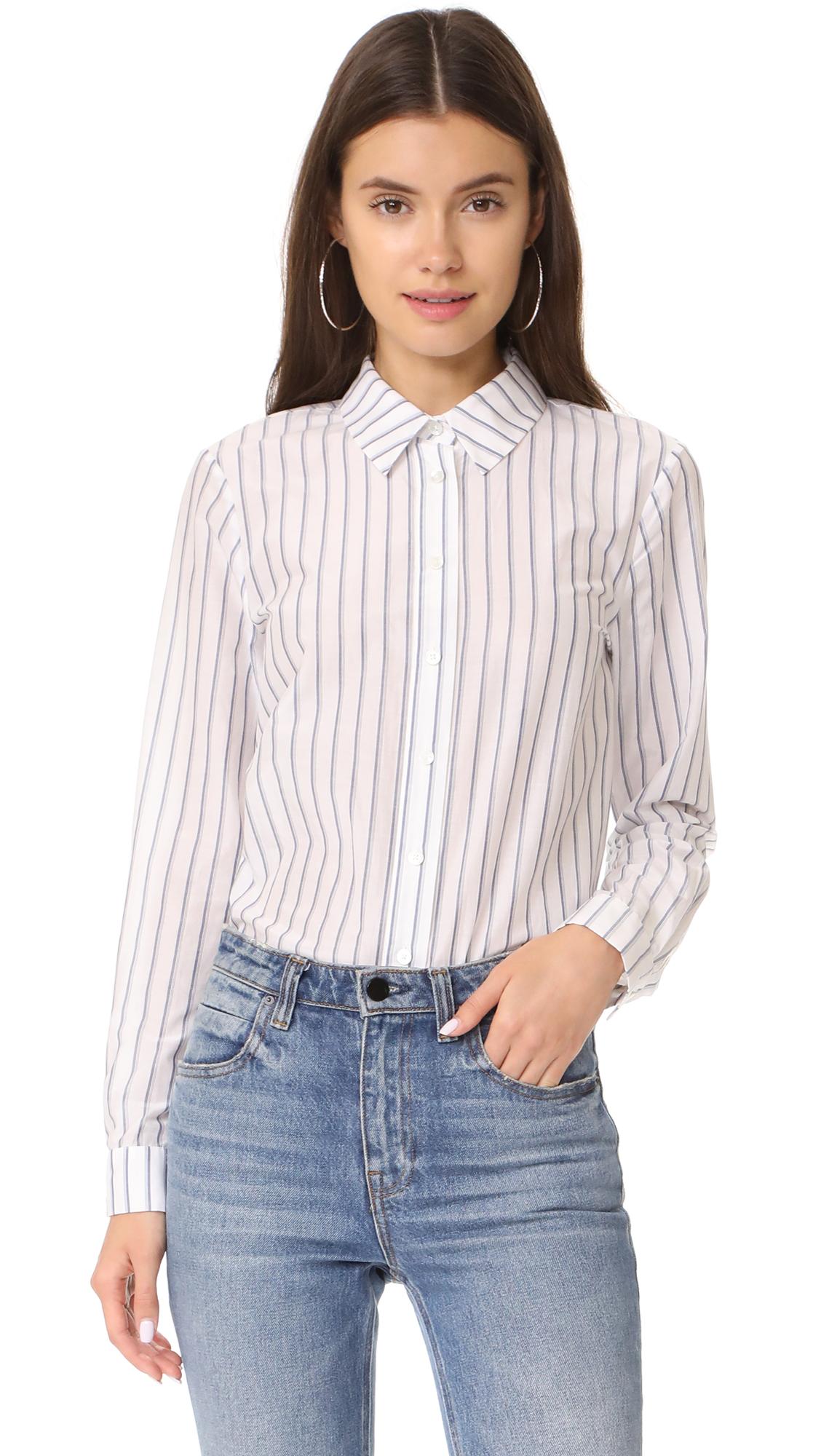 Jenni Kayne Boyfriend Shirt - Ivory/Blue