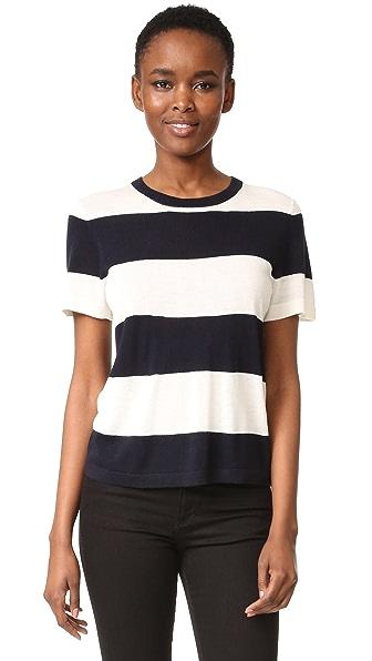 Jenni Kayne Rugby Stripe Crop T-Shirt - Ivory/Navy