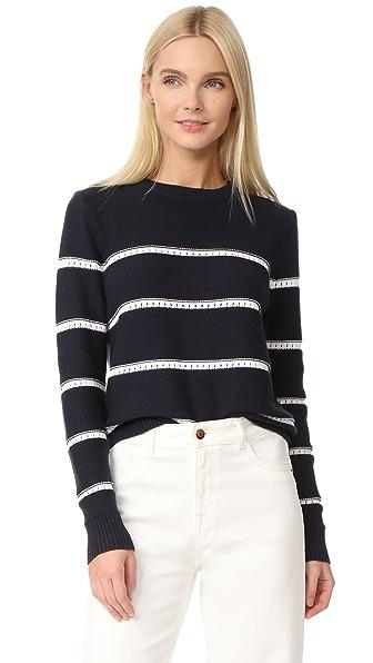 Jenni Kayne Pointelle Stripe Sweater
