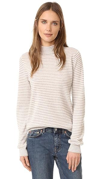 Jenni Kayne Baby Stripe Mock Neck Sweater - Oatmeal/Cream