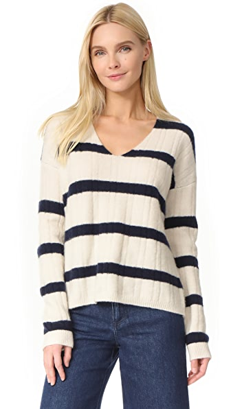 Jenni Kayne Stripe Cashmere V Neck Sweater