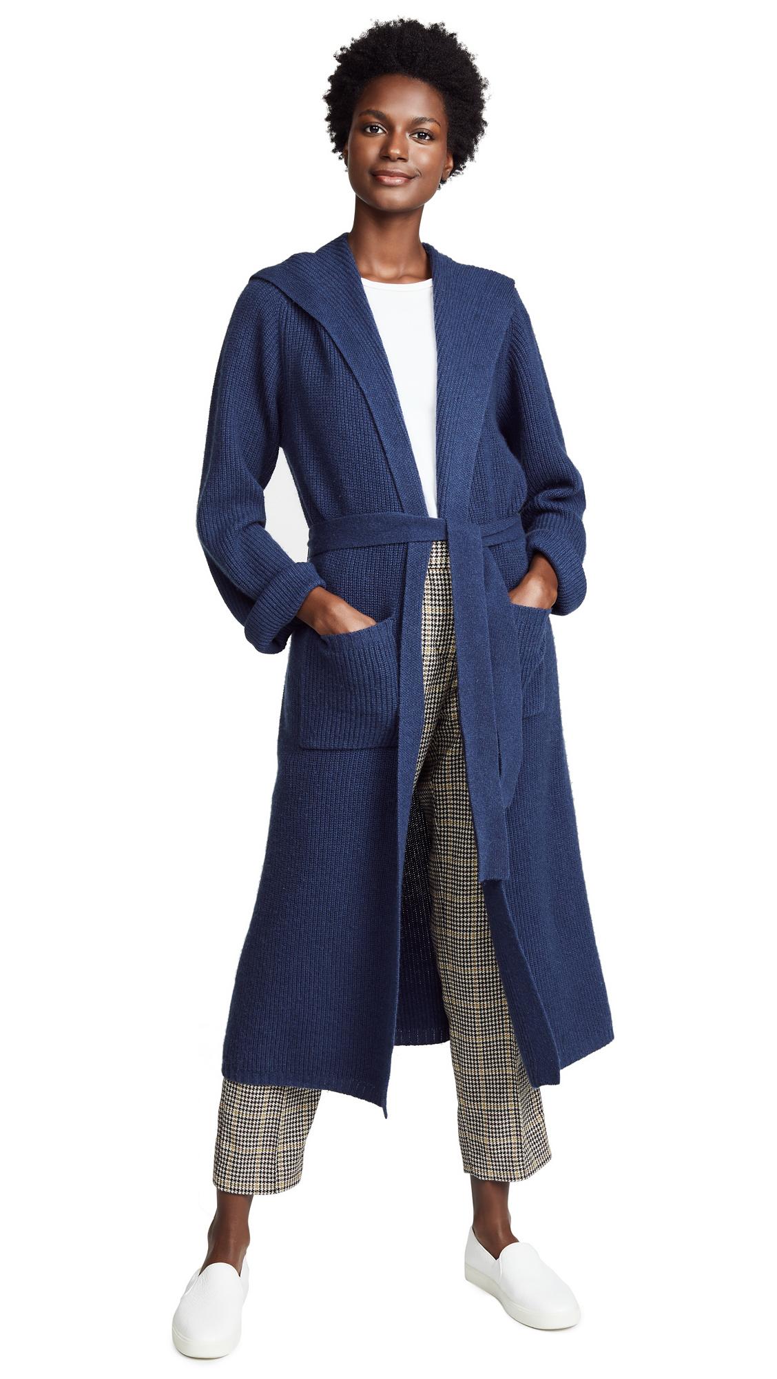 JENNY PARK Lida Hooded Maxi Cardigan In Indigo
