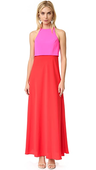 Jill Jill Stuart Two Tone Gown In Pink/Bright Red