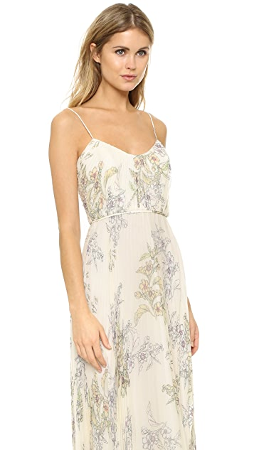 Jill Jill Stuart Pleated Silk Chiffon Gown
