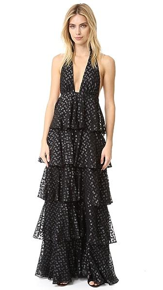 Jill Jill Stuart Clipped Dots Ruffle Gown