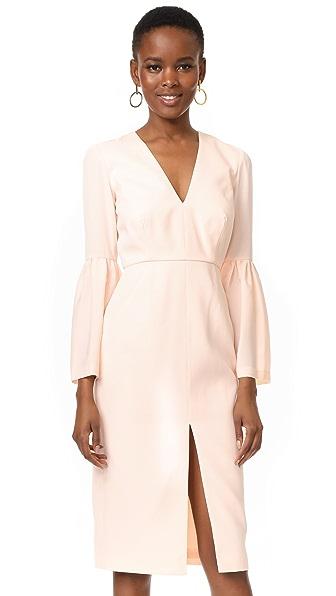 Jill Jill Stuart Deep V Bell Sleeve Dress - Rosy Nude
