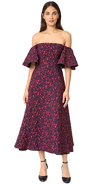 Jill Jill Stuart Off the Shoulder Jacquard Gown - Red/Violet