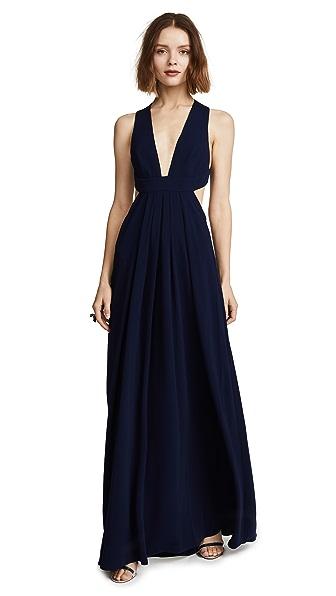 Jill Jill Stuart V Neck Gown In Midnight Blue