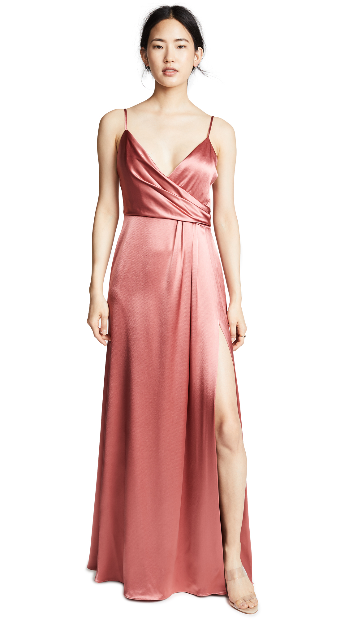 Faux Wrap Satin Gown, Rosewood