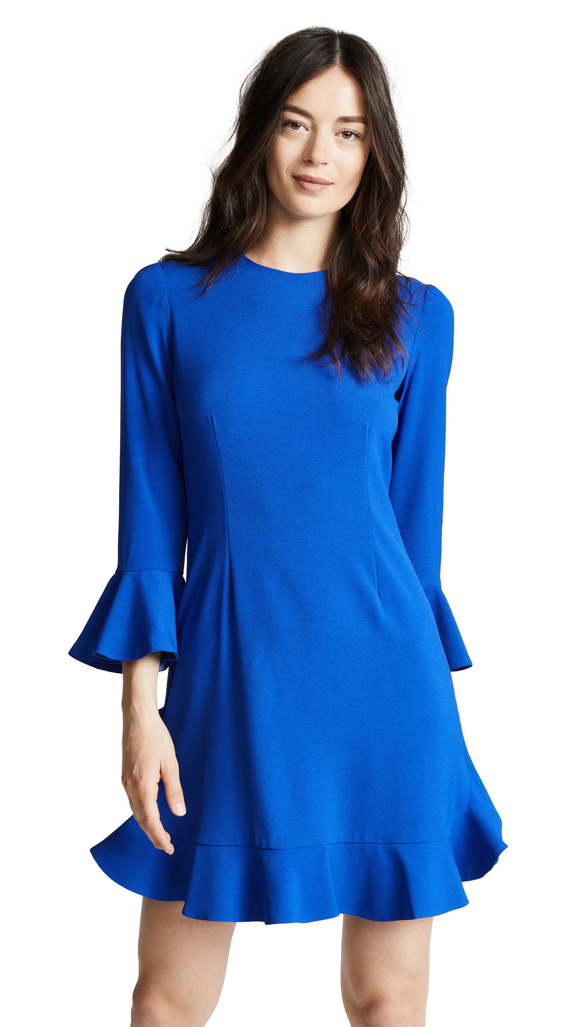 Jill Jill Stuart Crew Neck Flare Dress In Royal Blue