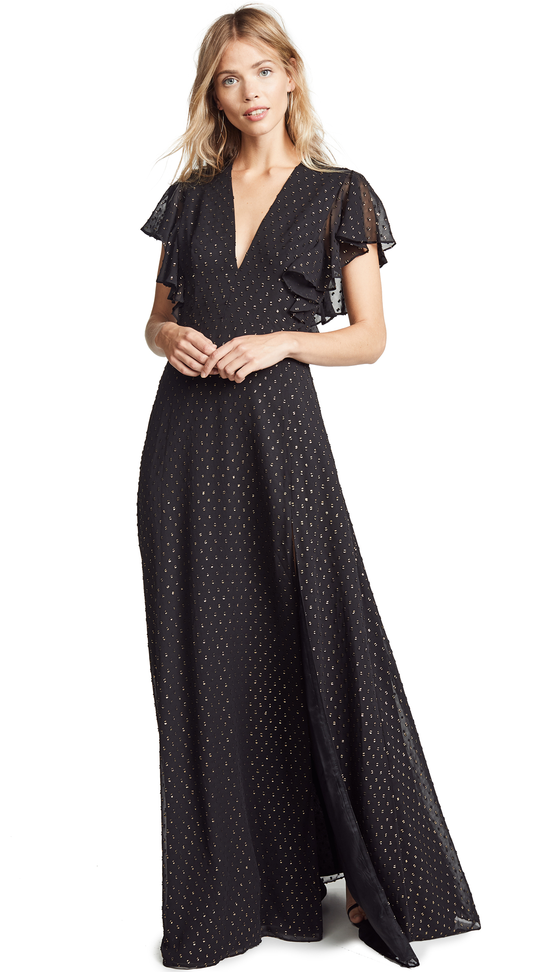 Jill Jill Stuart V Neck Metallic Gown - Black/Gold