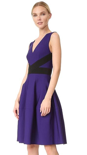 J. Mendel V Neck Dress with Paneled Skirt