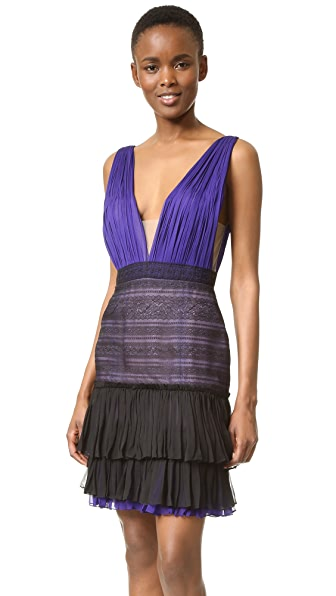 J. Mendel V Neck Dress with Lace Skirt