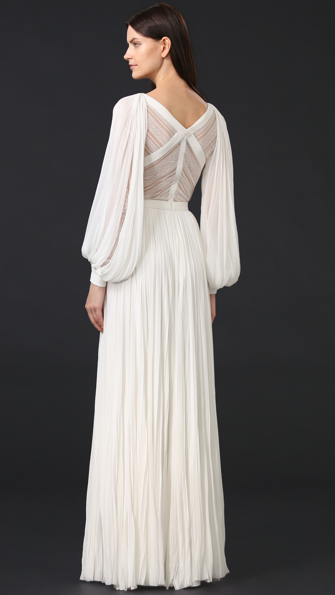 J. Mendel Camilla V Neck Long Sleeve Gown | SHOPBOP