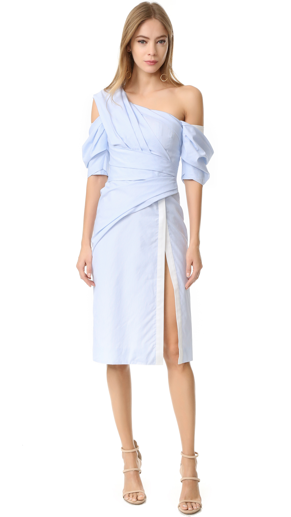 J. Mendel One Shoulder Wrap Dress - Blue/Ivoire
