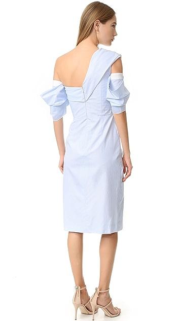 J. Mendel One Shoulder Wrap Dress