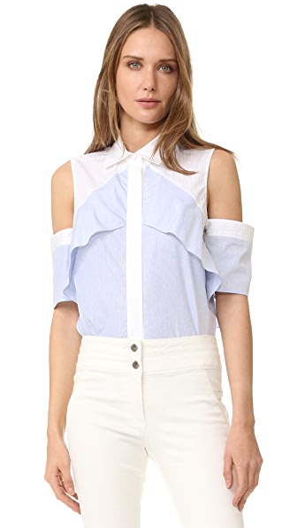 J. Mendel Ruffle Shoulder Blouse - Blue/Ivoire