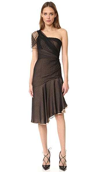 J. Mendel One Shoulder Asymmetrical Dress In Noir