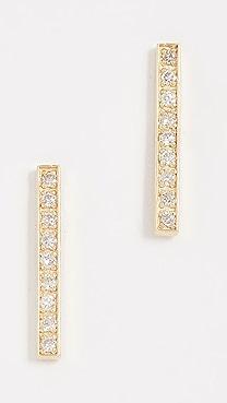 Jennifer Meyer Jewelry 18k Gold Bar Diamond Stud Earrings