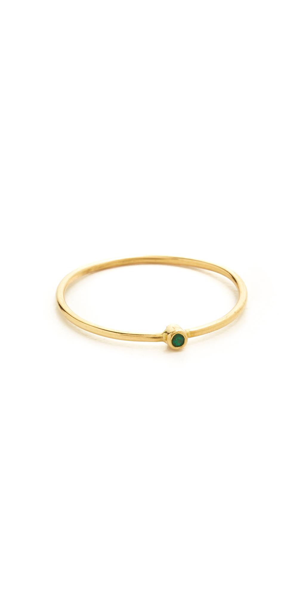 18k Gold Thin Emerald Ring Jennifer Meyer Jewelry