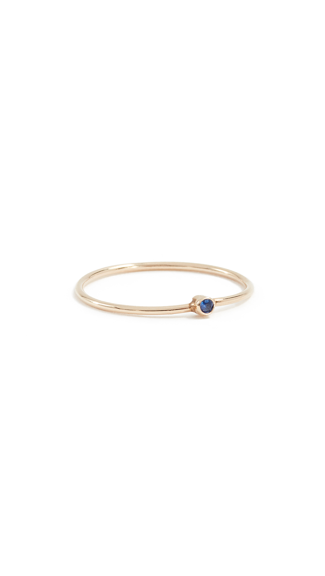 Jennifer Meyer Jewelry 18k Gold Thin Ring with Sapphire - Sapphire