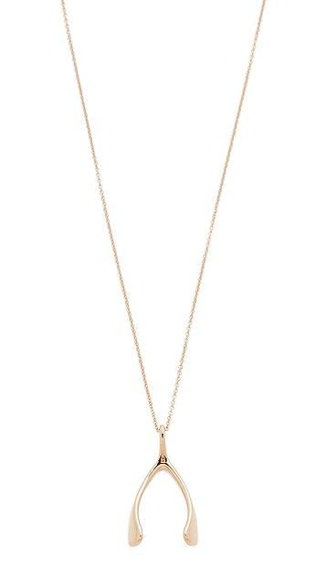 Jennifer Meyer Jewelry 18k Rose Gold Wishbone Necklace