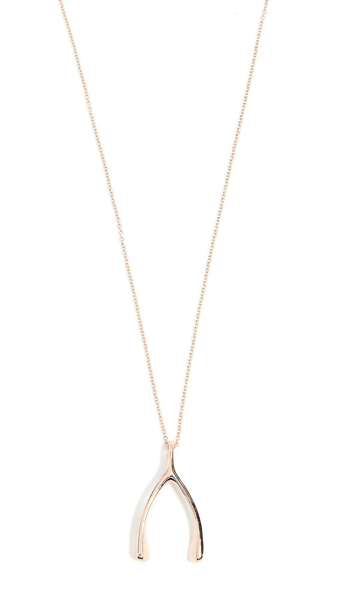 Jennifer Meyer Jewelry 18k Rose Gold Wishbone Necklace - Rose Gold