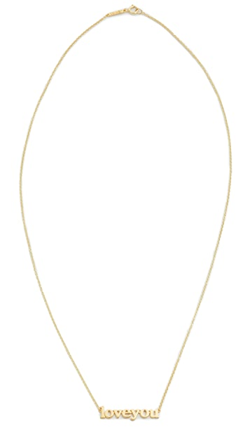 Jennifer Meyer Jewelry 18k Gold Love You Necklace