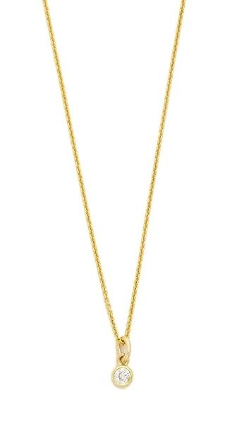 Jennifer Meyer Jewelry 18k Gold Diamond Single Bezel Necklace In Gold/Clear