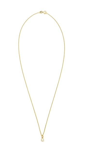 Jennifer Meyer Jewelry 18k Gold Diamond Single Bezel Necklace