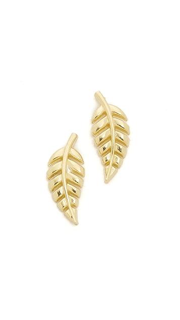 Jennifer Meyer Jewelry 18k Gold Mini Leaf Stud Earrings