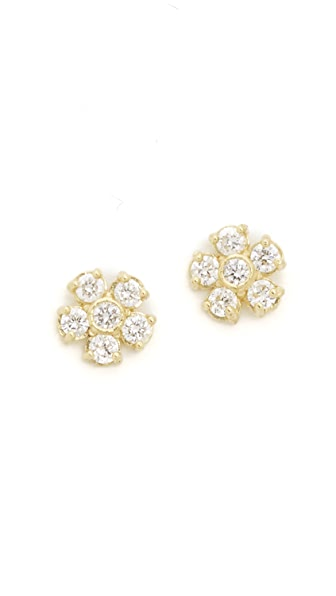 Jennifer Meyer Jewelry 18k Gold Diamond Flower Stud Earrings In Gold/Clear