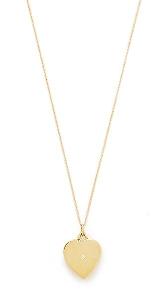 Jennifer Meyer Jewelry Heart Locket with Diamond Detail - Gold