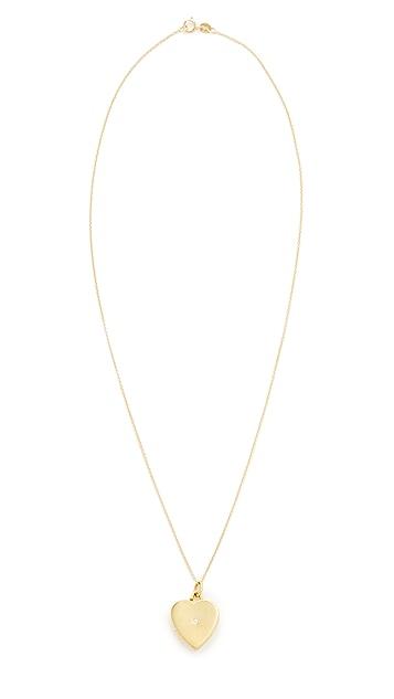 Jennifer Meyer Jewelry Heart Locket with Diamond Detail