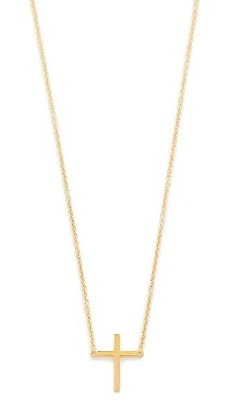 Jennifer Meyer Jewelry 18k Gold Thin Cross Necklace - Yellow Gold
