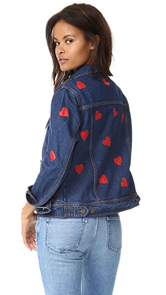 JN by JN LLOVET Hearts All Over Denim Jacket