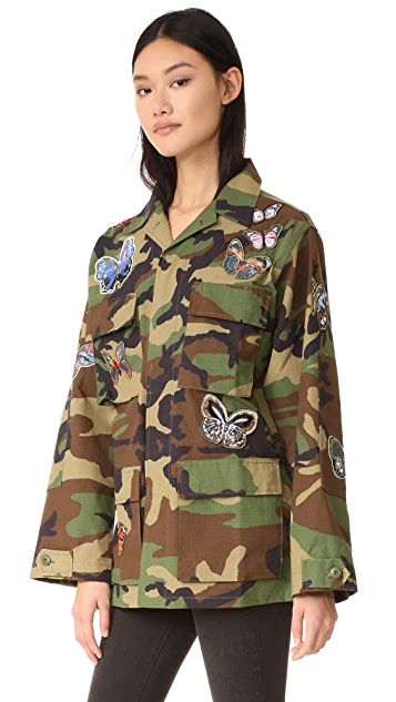 JN by JN LLOVET Camo Jacket with Butterfly Appliques