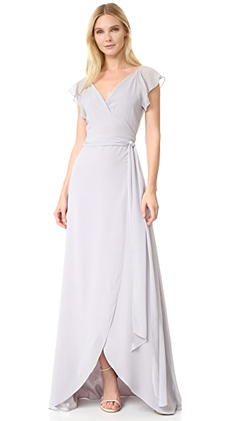 Joanna August Dorian Ruffle Sleeve Wrap Dress In Silver Bells