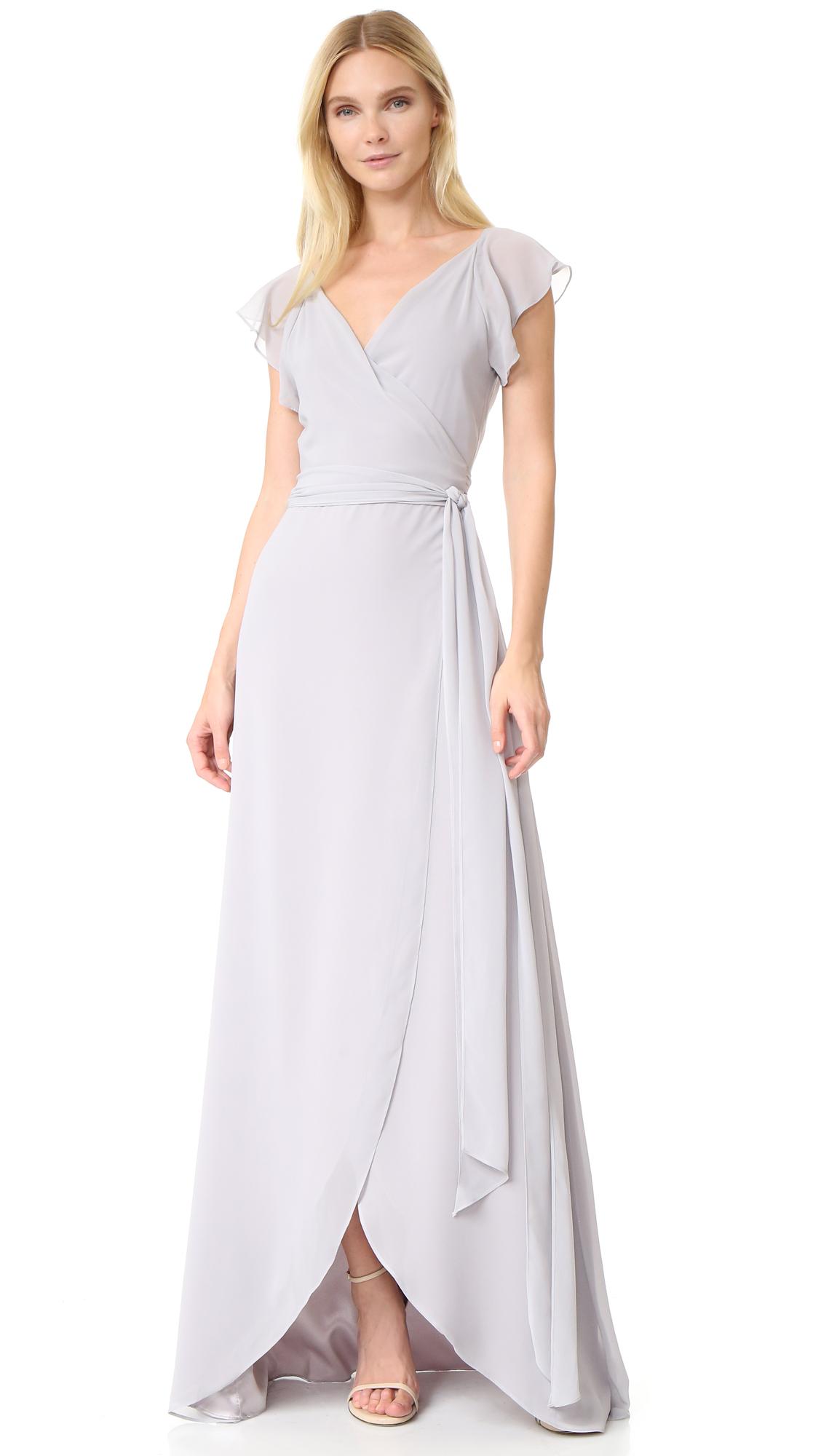 Joanna August Dorian Ruffle Sleeve Wrap Dress - Silver Bells