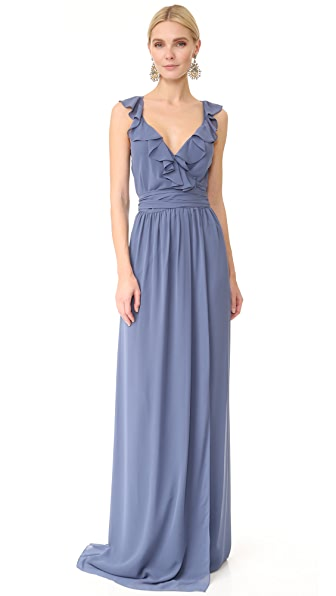 Joanna August Lacey Ruffle Wrap Dress In Blue Moon