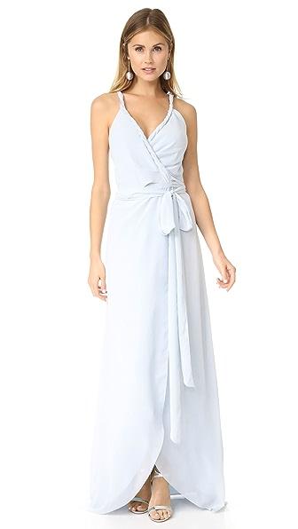 Joanna August The Parker Twist Strap Wrap Dress In Morning Dew
