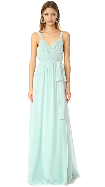 Joanna August Cindy Pleated Wrap Gown