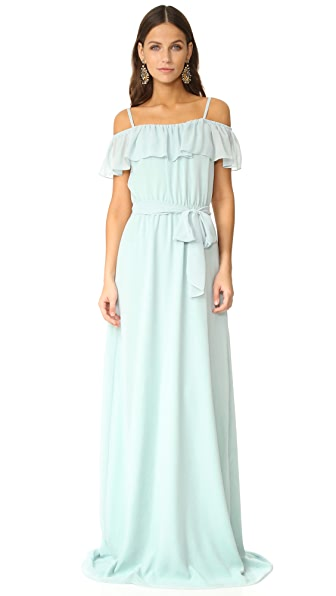 Joanna August Nikki Off Shoulder Ruffle Gown