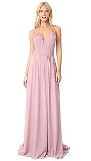 Joanna August Длинное платье Alessandra с запахом и двойными бретельками